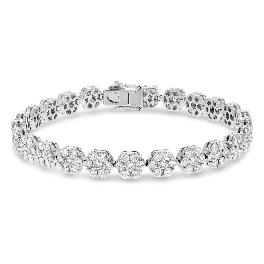 Diamond Flower Cluster Bracelet - R&R Jewelers