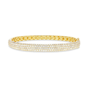 18K Yellow Gold Diamond Bangle, 4.70 Carats