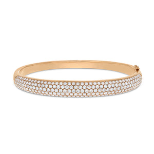 18K Rose Gold Diamond Bangle, 4.33 Carats