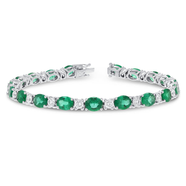 Alternating Diamond and Emerald Bracelet - R&R Jewelers