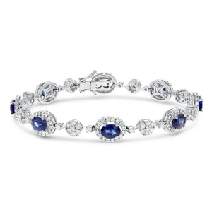 18K White Gold Sapphire and Diamond Bracelets, 9.41 Carats