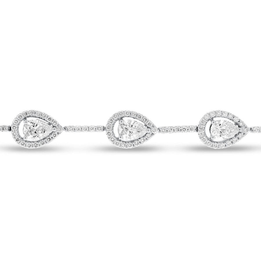 18K White Gold Diamond Bracelet, 4.90 Carats