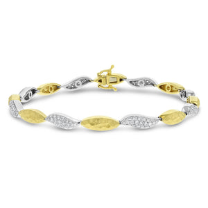 Hammered Link Diamond Bracelet, 1.23 Carats - R&R Jewelers