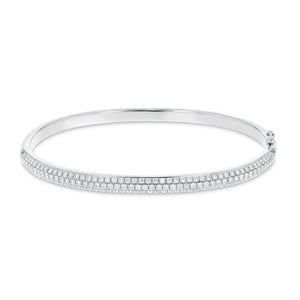 18K White Gold Diamond Bangle, 1.30 Carats