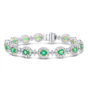 18K White Gold Diamond and Gemstone Bracelet, 9.98 Carats