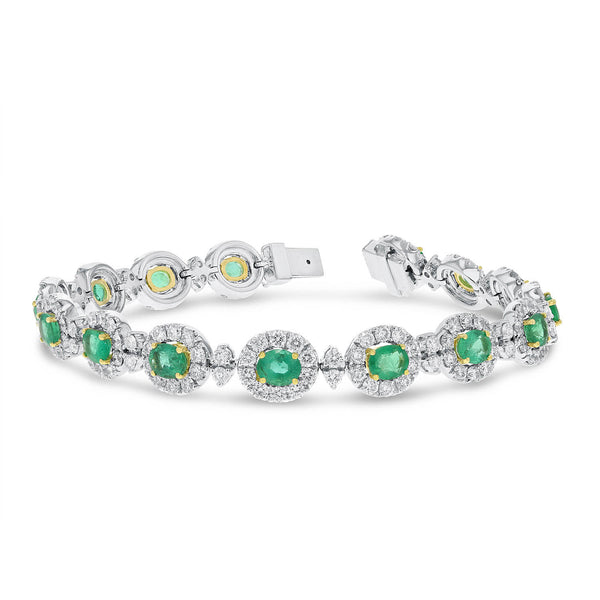Diamond Halo and Emerald Bracelet - R&R Jewelers