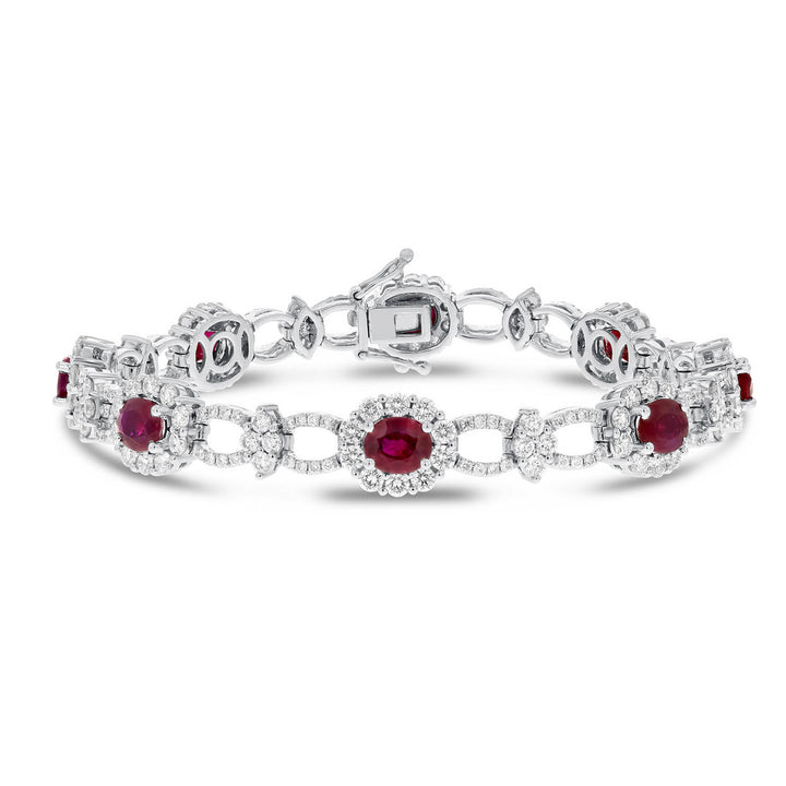 Ruby and Diamond Halo Link Bracelet - R&R Jewelers