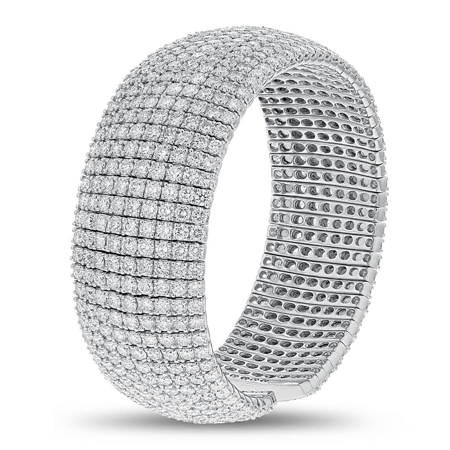 18K WHITE GOLD CUFF Diamond Bangle, 29.53 Carats - R&R Jewelers