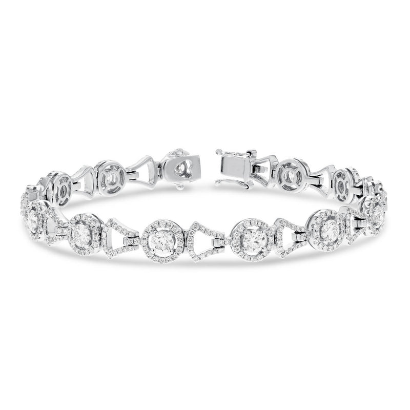 Diamond Halo Link Bracelet - R&R Jewelers