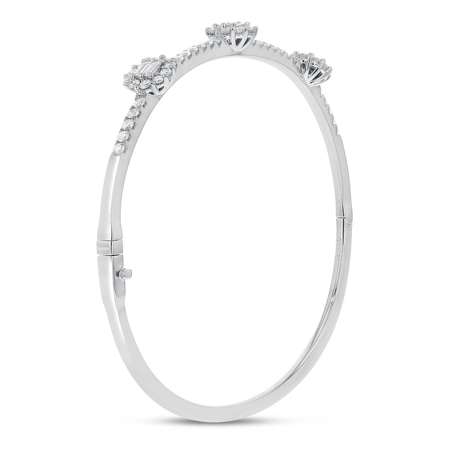 Baguette Diamond Stationed Bangle - R&R Jewelers