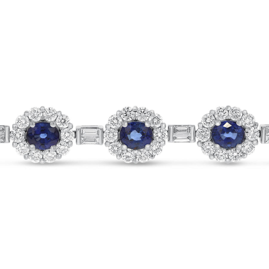 Diamond and Sapphire Halo Bracelet - R&R Jewelers