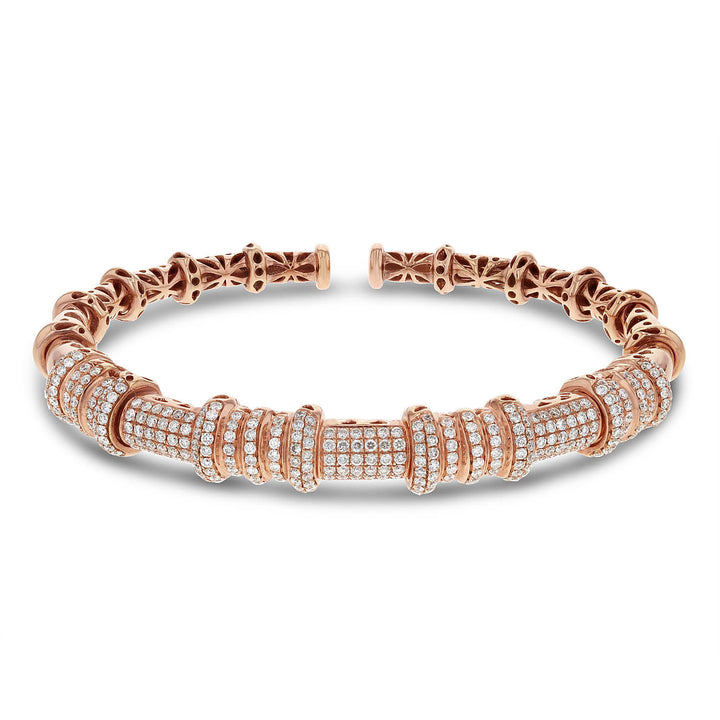 18K Rose Gold Diamond Cuff Bangle, 1.65 Carats