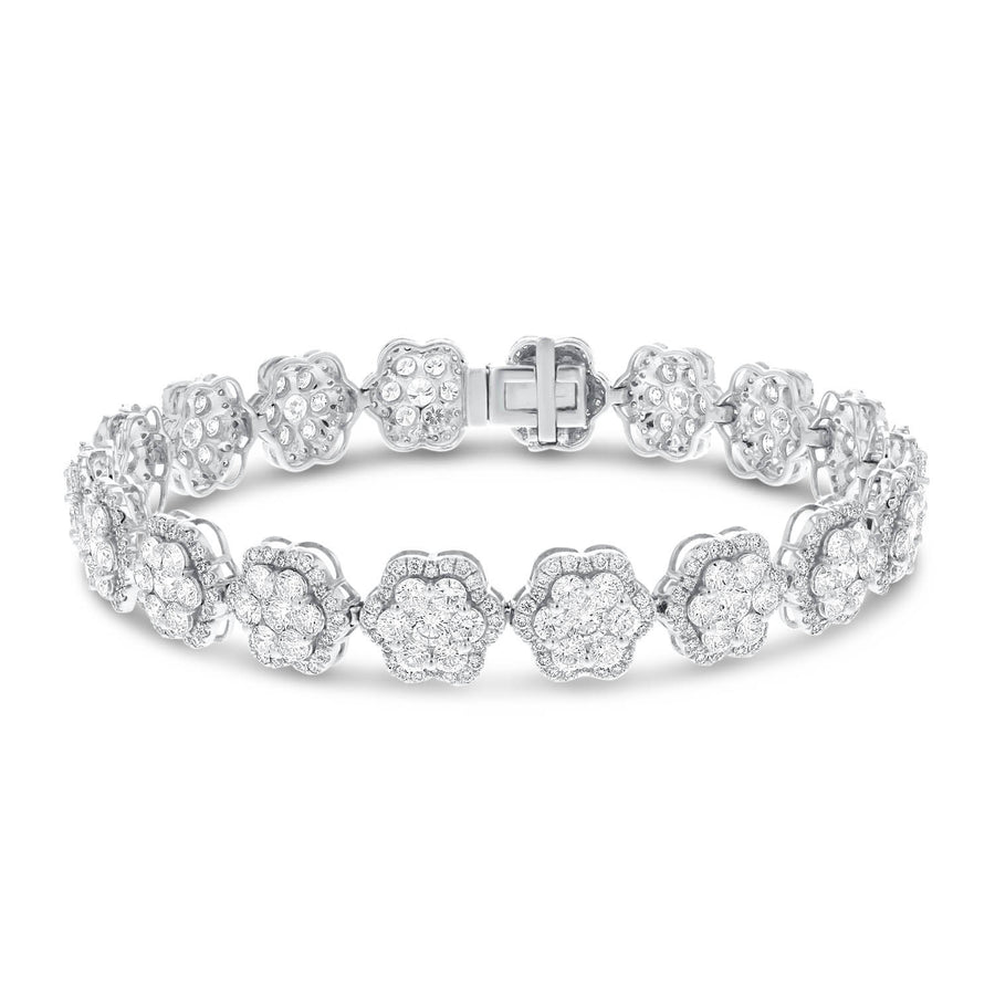 18K White Gold Diamond Bracelet, 9.76 Carats