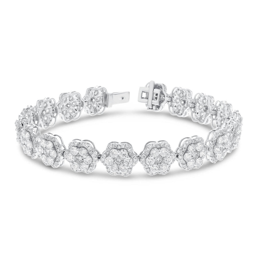 18K White Gold Diamond Bracelet, 9.76 Carats - R&R Jewelers