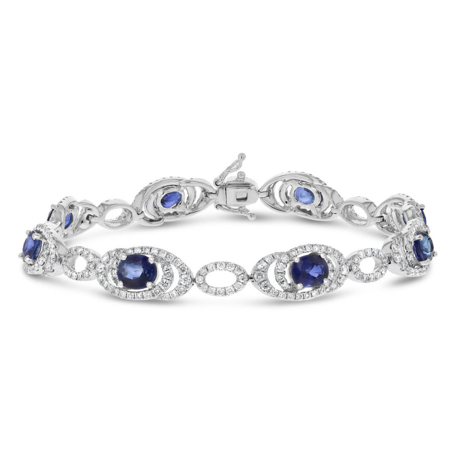 18K White Gold SAP and Diamond BRACELETS, 7.58 Carats