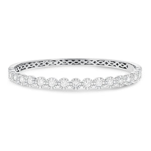 18K White Gold Diamond Bangle, 2.65 Carats - R&R Jewelers