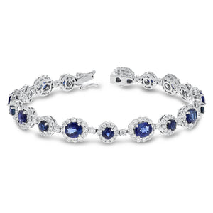 18K White Gold Sapphire and Sapphire Bracelets, 10.91 Carats