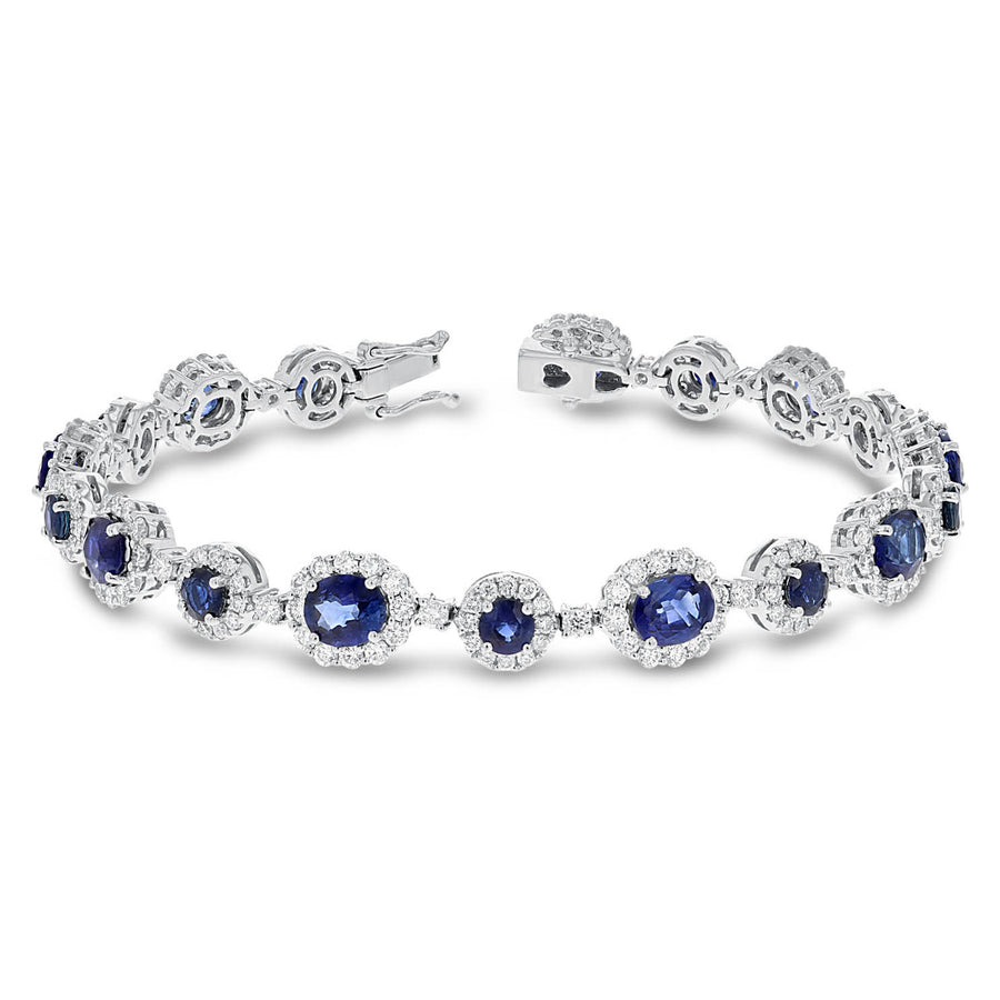 18K White Gold Sapphire and Sapphire Bracelets, 10.91 Carats - R&R Jewelers