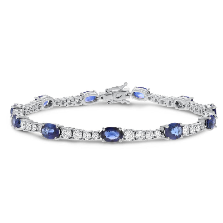 18K White Gold Sapphire and Diamond Bracelets, 9.56 Carats