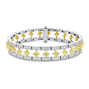 18K Two Tone Gold Diamond Bracelet, 15.93 Carats