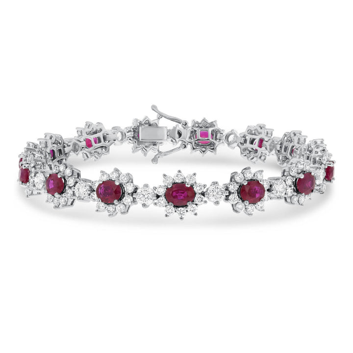 Oval Ruby and Diamond Link Bracelet - R&R Jewelers
