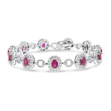 Diamond Halo and Oval Ruby Link Bracelet - R&R Jewelers