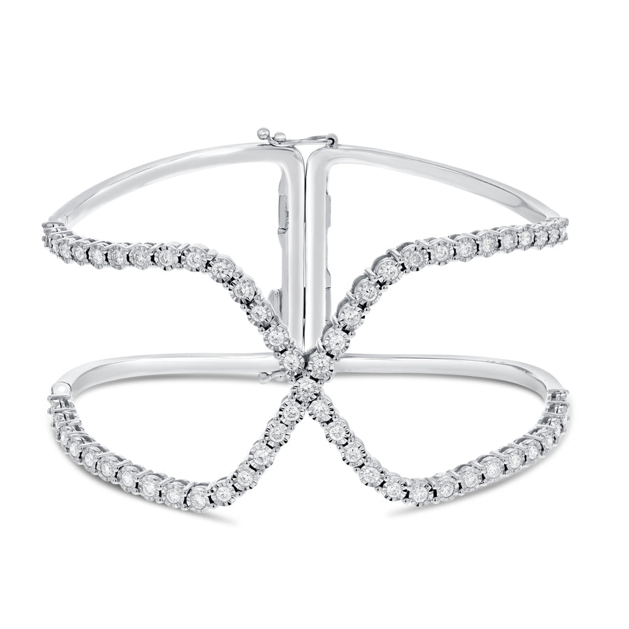 18K White Gold Diamond Bangle, 1.53 Carats - R&R Jewelers