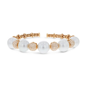 Diamond and Pearl Cuff Bangle - R&R Jewelers