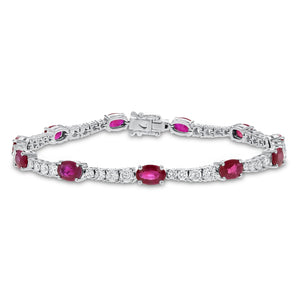 18K White Gold Diamond and Gemstone Bracelet, 8.38 Carats