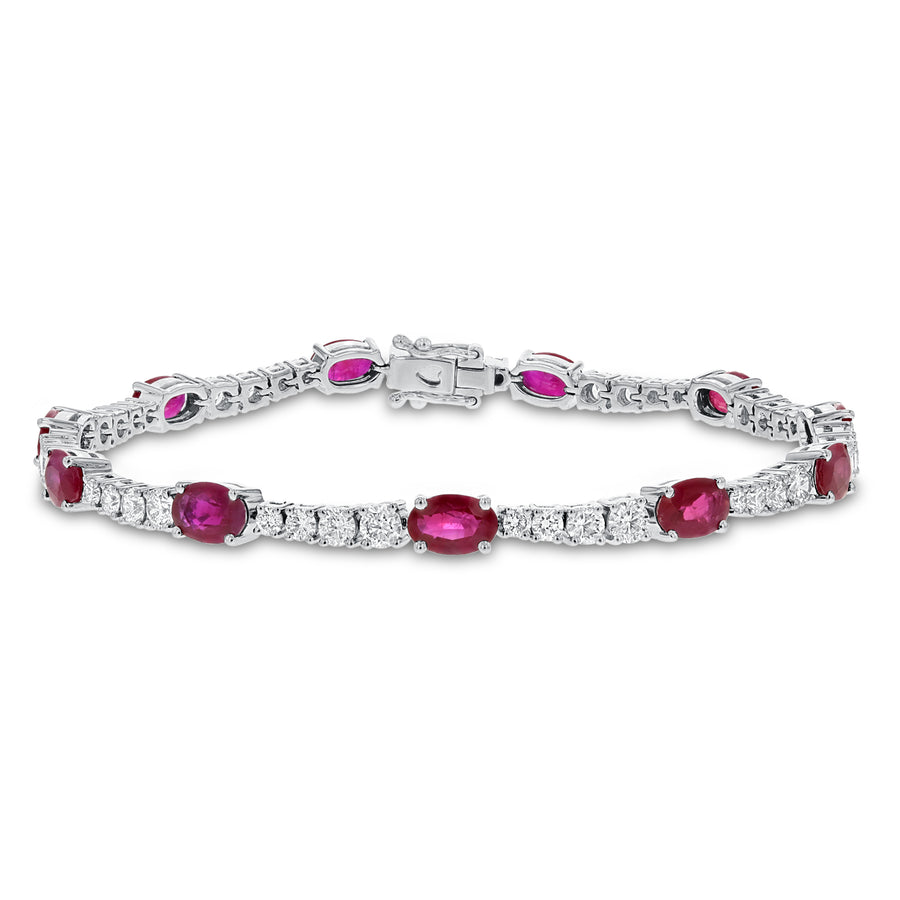 Graduating Diamond and Ruby Bracelet - R&R Jewelers