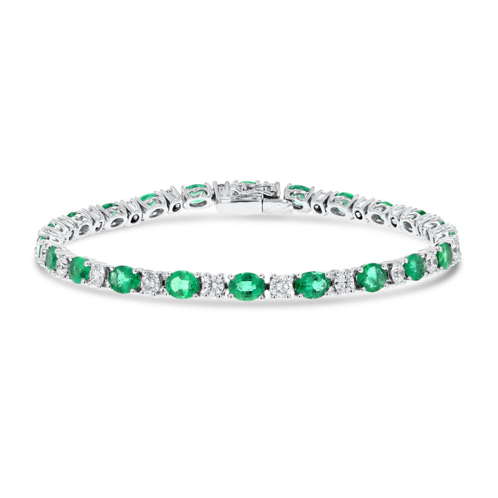 Oval Emerald and Alternating Diamond Bracelet - R&R Jewelers