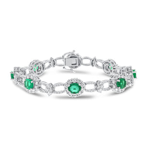 18K White Gold Diamond and Gemstone Bracelet, 9.30 Carats