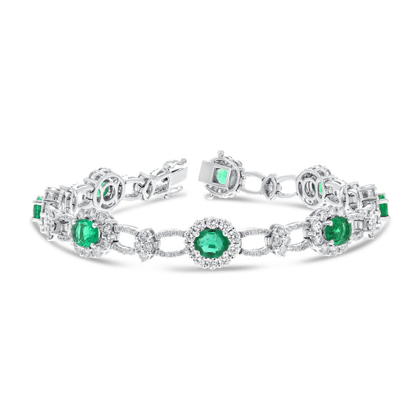 Emerald and Diamond Halo Bracelet - R&R Jewelers