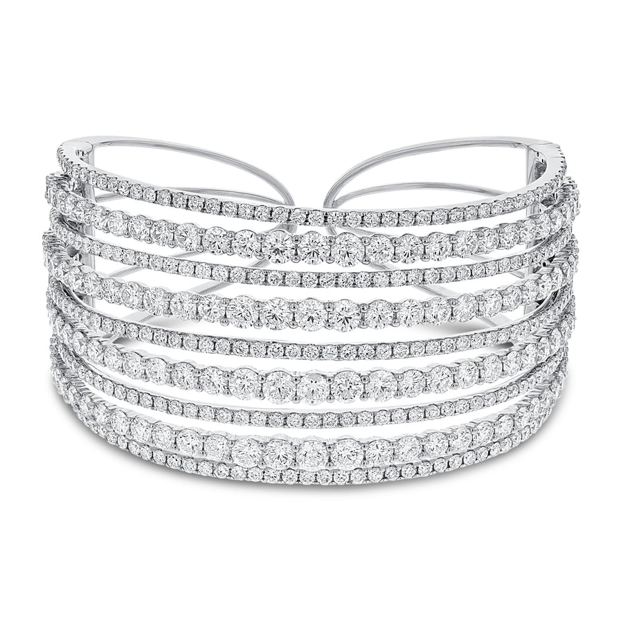 18K White Gold Diamond Bangle, 20.03 Carats - R&R Jewelers