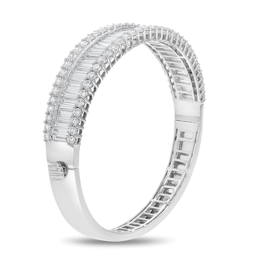 Round and Baguette Diamond Bangle - R&R Jewelers