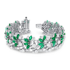 Marquise Emerald and Diamond Floral Bracelet - R&R Jewelers