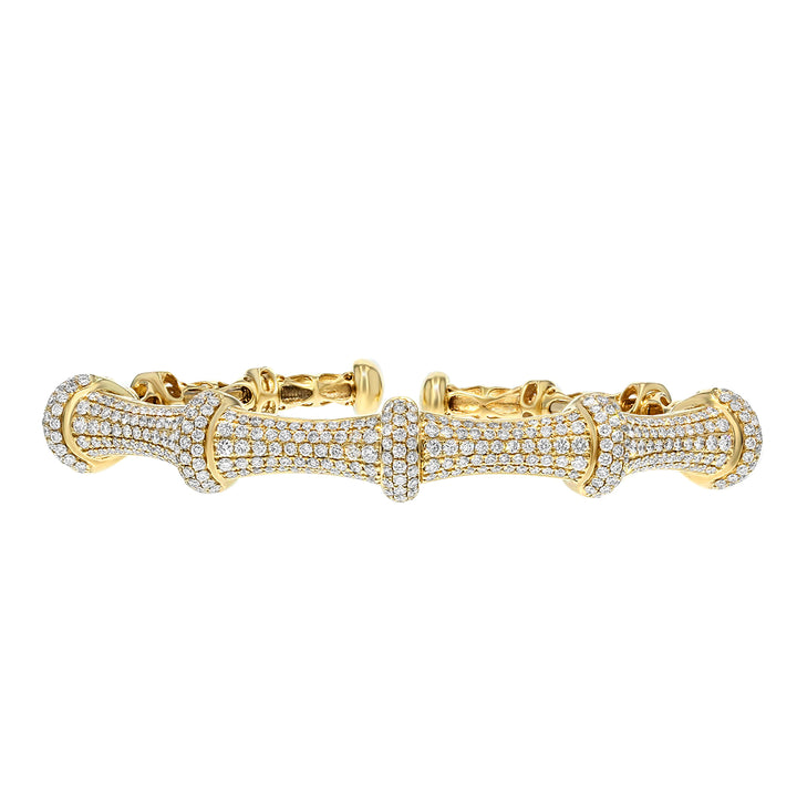 18K Yellow Gold Diamond Bangle, 3.09 Carats