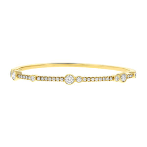 Round Brilliant Alternating Bezel Set Diamond Bangle - R&R Jewelers
