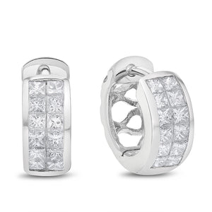 18K White Gold Diamond Earrings, 1.38 Carats