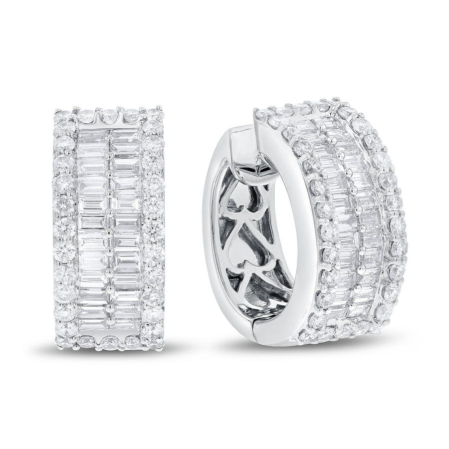 18K White Gold Diamond Earrings, 3.12 Carats - R&R Jewelers