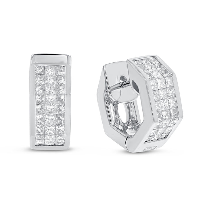 18K White Gold Huggy Earrings, 1.48 Carats