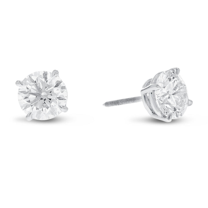 14K White Gold 4-Prong Screw Back Diamond Stud Earrings, 1.93 Carats