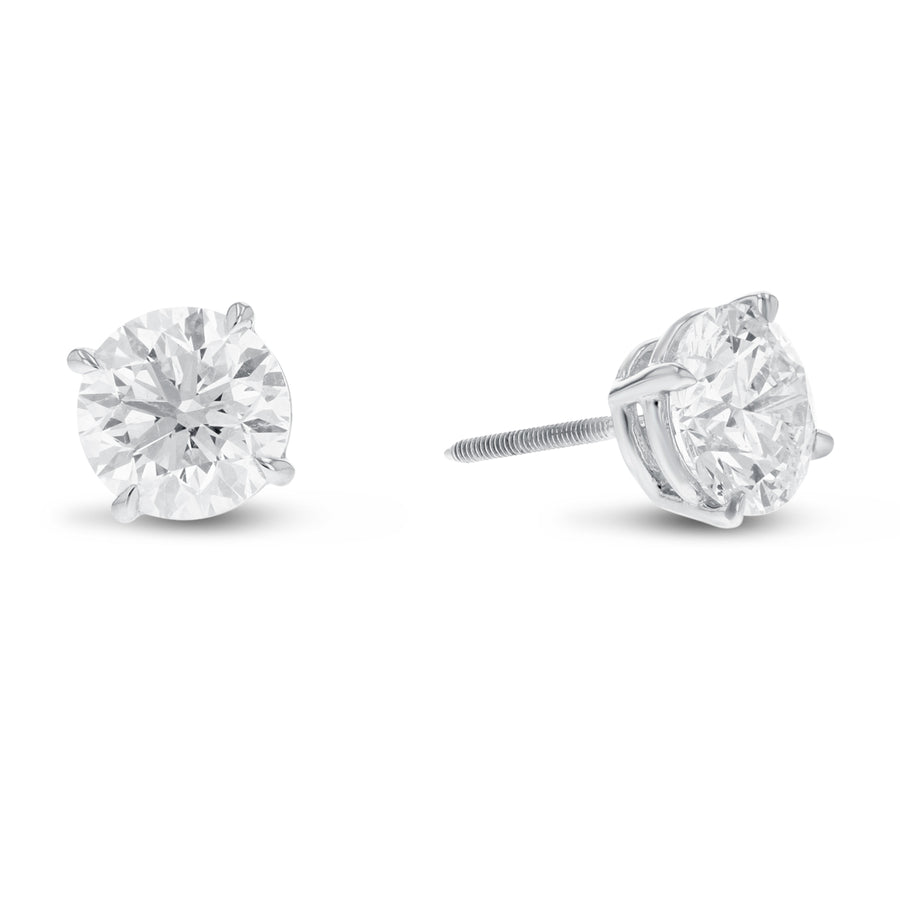14K White Gold 4-Prong Screw Back Diamond Stud Earrings, 1.93 Carats - R&R Jewelers