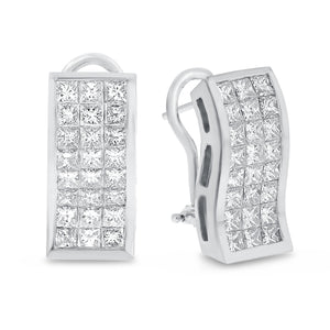 Invisible Set Diamond Lever Back Earrings - R&R Jewelers