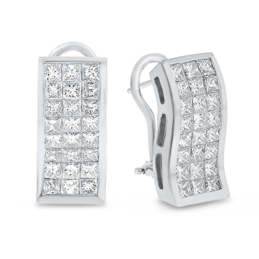 18K White Gold EARRINGS, 3.88 Carats