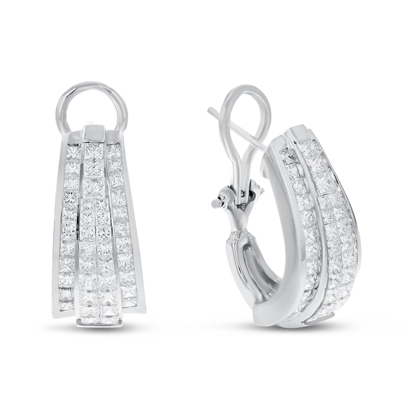 Four Row Invisible Set Diamond Earrings - R&R Jewelers