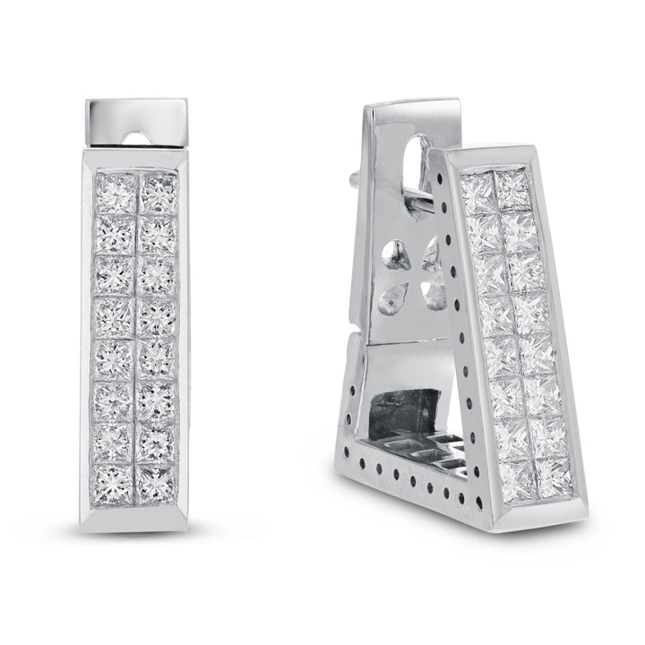 14K White Gold Diamond Earrings, 2.01 Carats