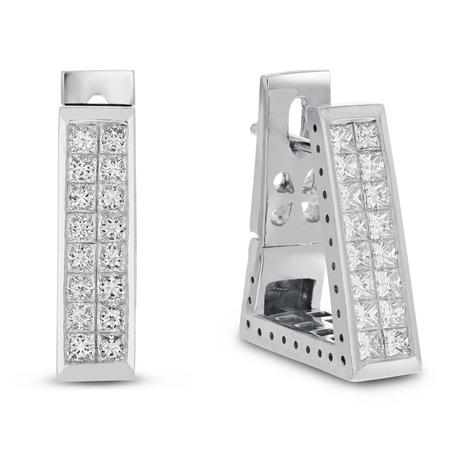 Invisible Set Diamond Earrings, 2.01 Carats - R&R Jewelers
