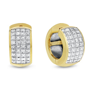 Invisible Set Diamond Huggie Earrings