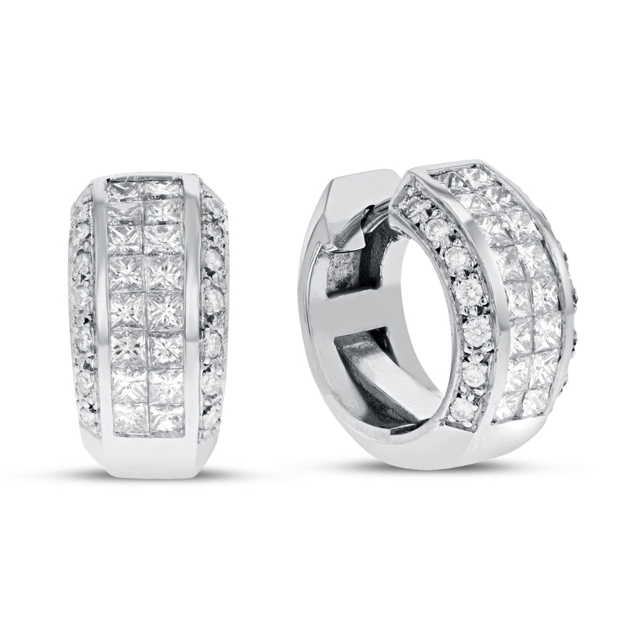 18K White Gold EARRINGS, 2.02 Carats